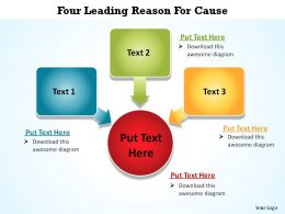 five leading reason circles and squares pointing inwards for cause ppt slides diagrams templates info graphics