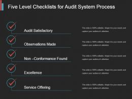 Five Level Checklists For Audit System Process Powerpoint Topics