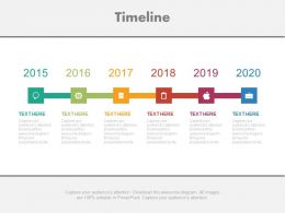 Five Level Year Based Timeline Diagram Powerpoint Slides