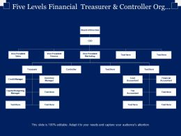 Five Levels Financial Treasurer And Controller Org Chart Ppt Slide
