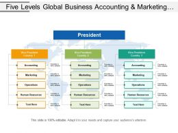 Five Levels Global Business Accounting And Marketing Operations Org Chart