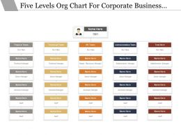 Five Levels Org Chart For Corporate Business Functions