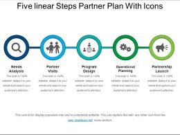 Five Linear Steps Partner Plan With Icons