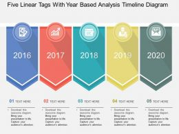 Five Linear Tags With Year Based Analysis Timeline Diagram Flat Powerpoint Design