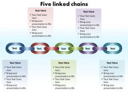 five linked chains editable powerpoint slides templates