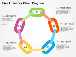 Five Links For Chain Diagram Flat Powerpoint Design