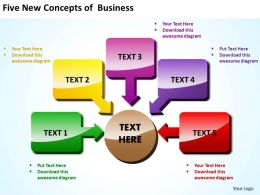 five new concepts of business shown by shiny text boxes and arrows powerpoint templates 0712