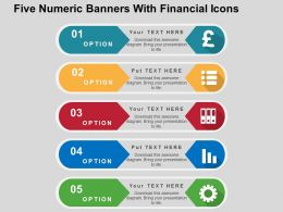 Five Numeric Banners With Financial Icons Flat Powerpoint Design