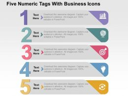 Five Numeric Tags With Business Icons Flat Powerpoint Design