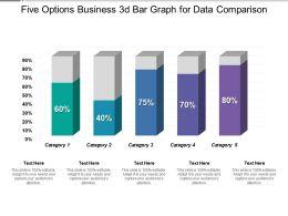 Five Options Business 3d Bar Graph For Data Comparison