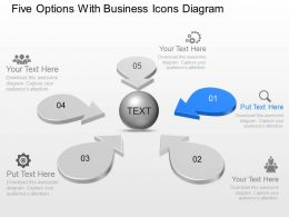 Five Options With Business Icons Diagram Powerpoint Template Slide