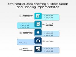 Five Parallel Steps Showing Business Needs And Planning Implementation