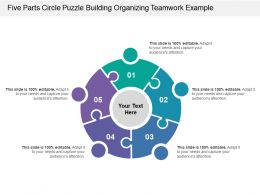 Five Parts Circle Puzzle Building Organizing Teamwork Example