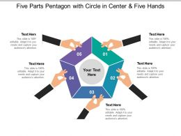 Five Parts Pentagon With Circle In Center And Five Hands