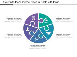 Five Parts Piece Puzzle Piece In Circle With Icons
