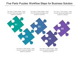 Five Parts Puzzles Workflow Steps For Business Solution
