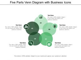 Five Parts Venn Diagram With Business Icons