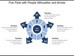 Five Parts With People Silhouettes And Arrows