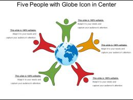 Five People With Globe Icon In Center