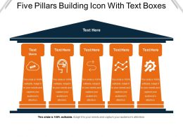 Five Pillars Building Icon With Text Boxes