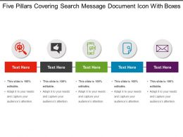 Five Pillars Covering Search Message Document Icon With Boxes