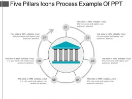 Five Pillars Icons Process Example Of Ppt