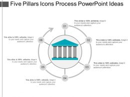 Five Pillars Icons Process Powerpoint Ideas