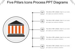 Five Pillars Icons Process Ppt Diagrams