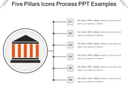 Five Pillars Icons Process Ppt Examples