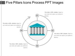Five Pillars Icons Process Ppt Images