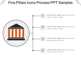 Five Pillars Icons Process Ppt Samples