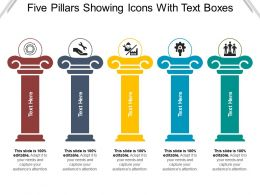 Five Pillars Showing Icons With Text Boxes