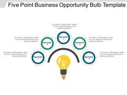 Five Point Business Opportunity Bulb Template Powerpoint Slide