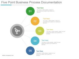 Five Point Business Process Documentation Powerpoint Slides