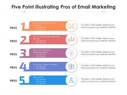 Five Point Illustrating Pros Of Email Marketing