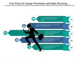 Five Point Of Career Promotion And Man Running With Briefcase Graphic