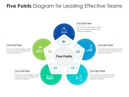 Five Points Diagram For Leading Effective Teams Infographic Template