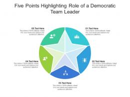 Five Points Highlighting Role Of A Democratic Team Leader Infographic Template