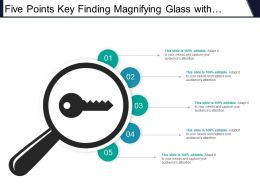 Five Points Key Finding Magnifying Glass With Key Icon