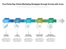 Five Points Key Online Marketing Strategies Through Arrows With Icons