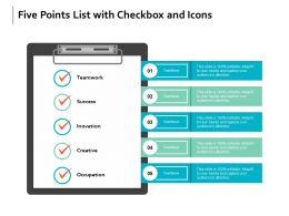 Five Points List With Checkbox And Icons