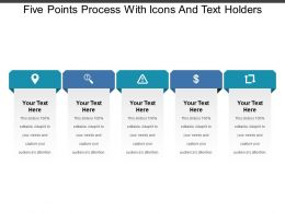 Five Points Process With Icons And Text Holders