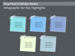 Five Post It Sticky Notes Infographic For Key Highlights