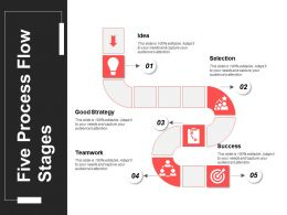 Five Process Flow Stages Powerpoint Slide Introduction