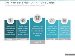 Five Products Portfolio List Ppt Slide Design