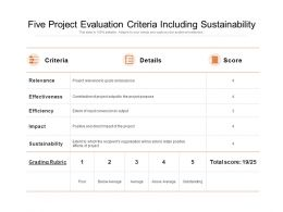 Five Project Evaluation Criteria Including Sustainability