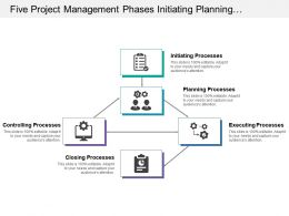 Five Project Management Phases Initiating Planning And Executing Processes With Icons