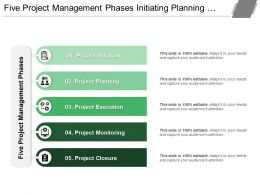 Five Project Management Phases Initiating Planning Monitoring And Closing With Icons