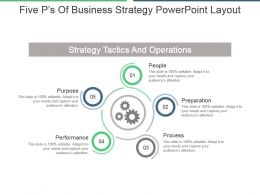Five Ps Of Business Strategy Powerpoint Layout