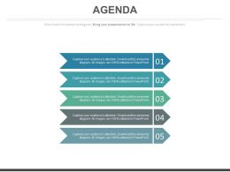 Five Ribbon Tags For Business Agenda Powerpoint Slides
